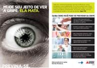 Flyer da campanha de prevenção contra a gripe.